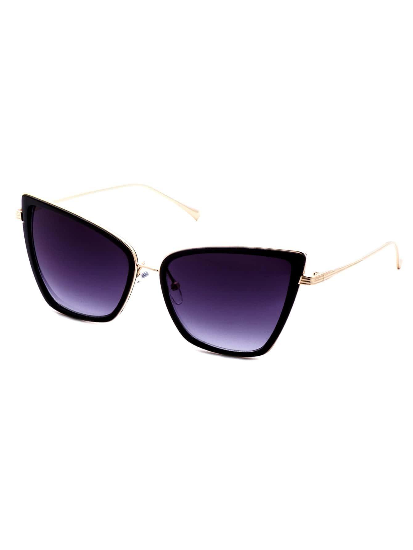 Black And Gold Frame Cat Eye Sunglasses
