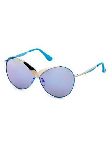 Blue Frame Sunglasses With Gold Detail