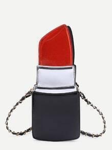 Bolso pu con cadena en forma de barra de labios - rojo