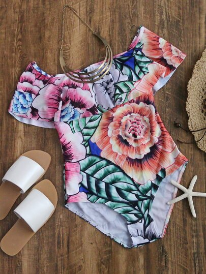 Multicolor Floral Print One-Piece Swimwear