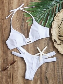 White Cutout Halter Sexy Bikini Set