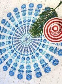 Blue Tribal Print Vintage Round Beach Blanket