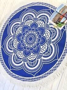Manta playera redonda ribete con flecos con estampado de lotus - azul
