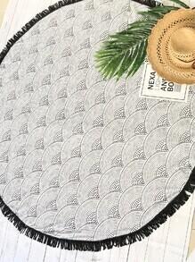 Printed Contrast Fringe Round Beach Blanket