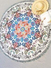 Manta playera redonda ribete con flecos con estampado floral - multicolor