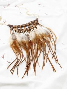Collar con cadena pluma y flecos - dorado