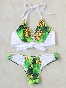 Pineapple Print Ladder Cutout Halter Bikini Set