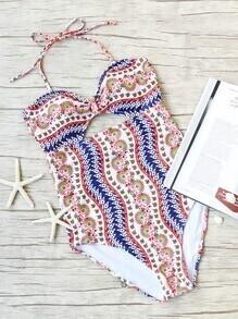 Multicolor Printed Cutout Halter One-Piece Swimwear
