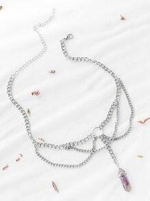 Collar de metal pendiente violeta - plateado