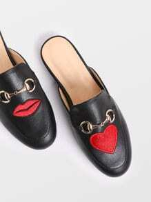 Black Lip And Heart Embroidery Loafer Slippers