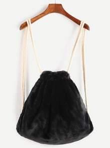 Black Rope Strap Faux Fur Bucket Backpack