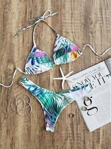 Set bikini triángulo con estampado de hoja