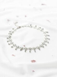 Silver Plated Flower Choker Necklace