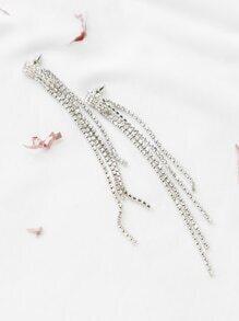 Pendientes con cadena en apliques cristales - plateado