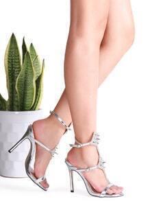 Sandales à talons hauts cloutés Silver Rivet