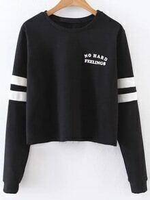 Black Letter Print Striped Sleeve Sweatshirt