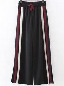 Pantalones anchos de rayas con abertura lateral - negro