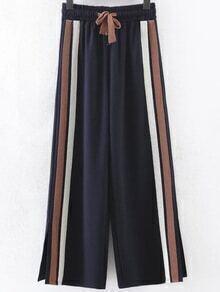 Pantalones anchos de rayas con abertura lateral - marino