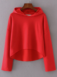 Red Drop Shoulder Seam High Low Hooded Sweatshirt