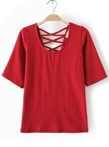 Red Criss Cross V Back T-shirt