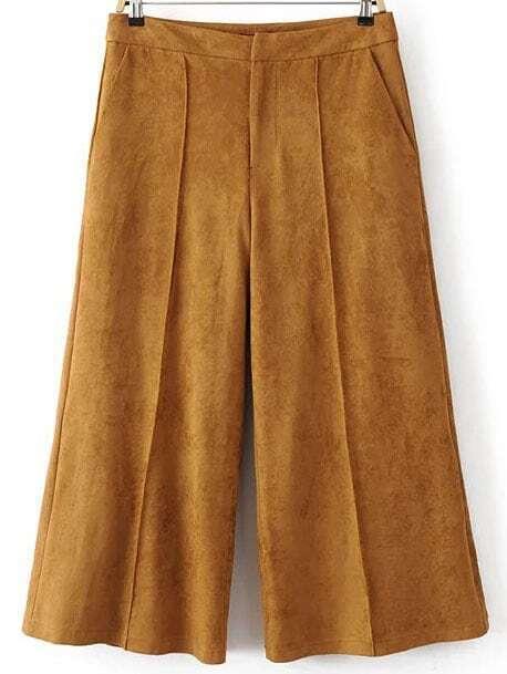 Pantalon en daim jambes larges kaki french romwe for Acheter maison suede