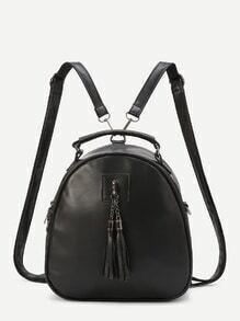 black faux cuir tassel embelli de mini - dôme sac