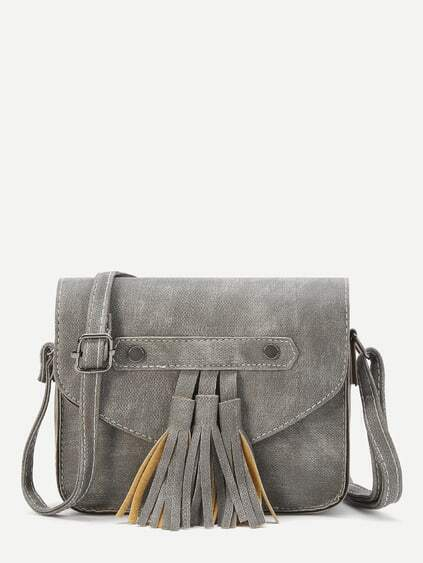 Grey Faux Leather Tassel Trim Flap Bag