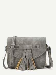 Grey Faux Leather Tassel Trim Flap Bag