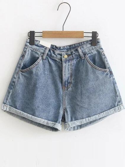 Blue Rolled Hem High Waist Denim Shorts