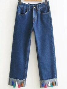 Pantalones de mezclilla en franela de franela azul con franjas
