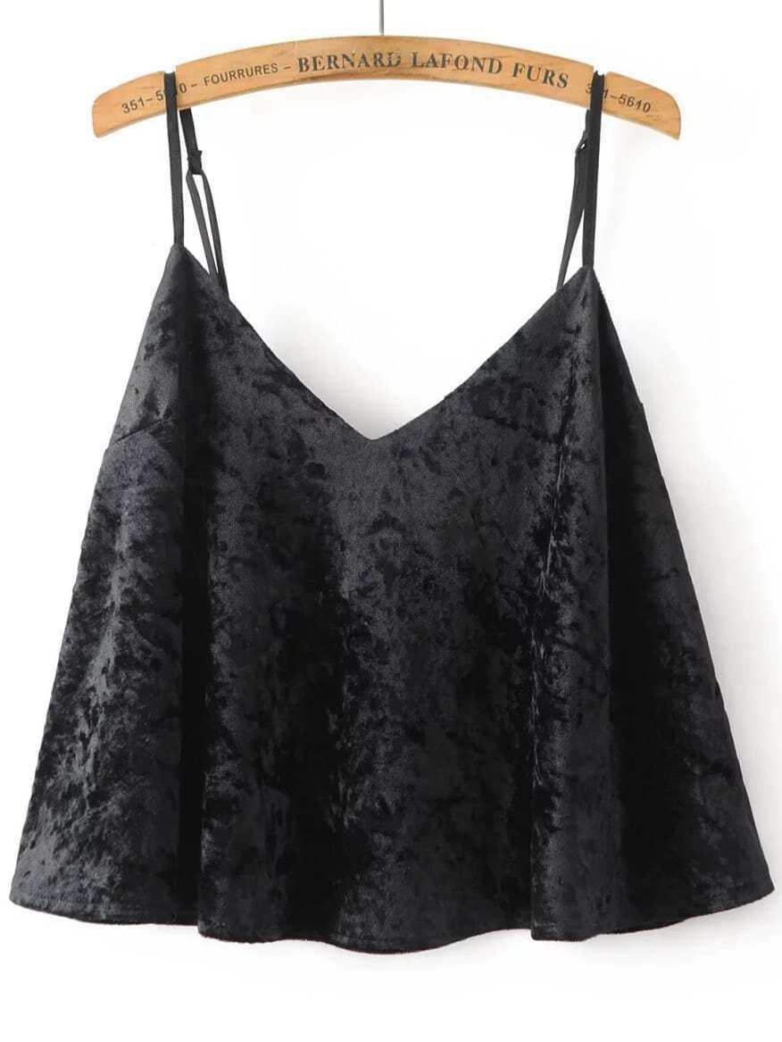 Black Velvet Cami Crop Top
