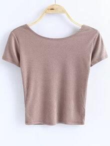 Camiseta de manga corta de color caqui