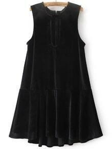 Negro de cierre de cremallera de la cintura trasera caída vestido de terciopelo