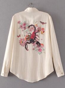Beige Scorpion Embroidery Curved Hem Blouse With Pocket