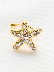 Gold Rhinestone Starfish Ear Cuff