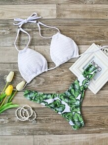 Set bikini halter con estampado de hoja mix & match - blanco