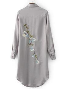 Grey Embroidered Back Slit Side Shirt Dress