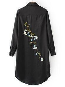 Black Embroidered Back Slit Side Shirt Dress