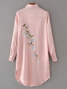 Pink Embroidered Back Slit Side Shirt Dress