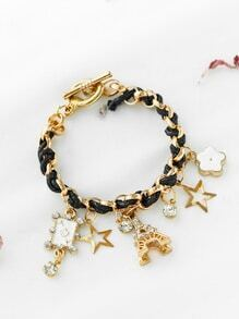 Gold Leather Chain Charm Bracelet