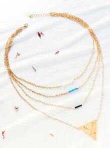 le collier de perles couches triangle d'or