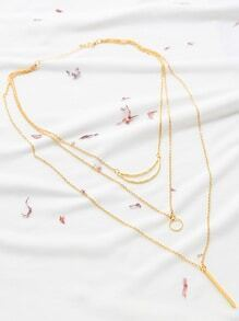 Gold Cutout Geo And Bar Pendant Layered Necklace