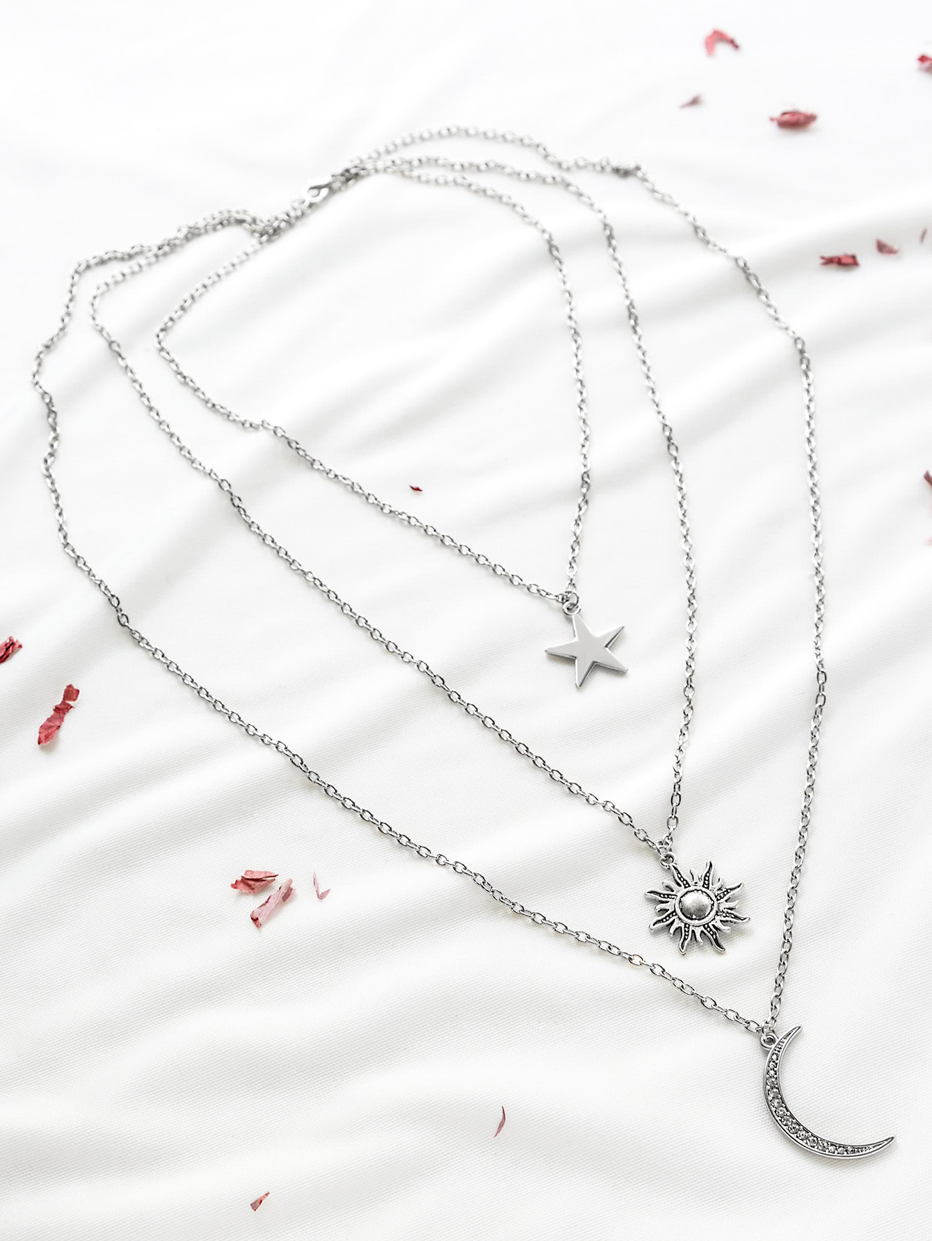 Silver Star Sun Moon Pendant Layered Necklace