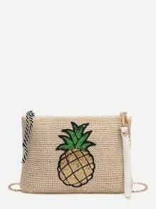 la chaîne sequin ananas embelli de paille sac kaki
