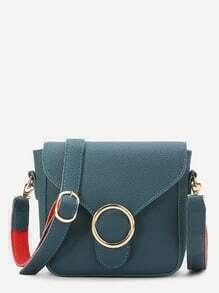 Buy Teal Ring Detail PU Shoulder Bag