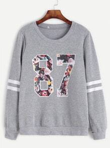 Sweatshirt Baseball Druck-grau