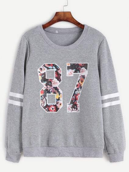 Sweat-shirt imprimé varsity - gris