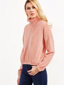 Sudadera de terciopelo con hombro caído y cuello alzado - rosa