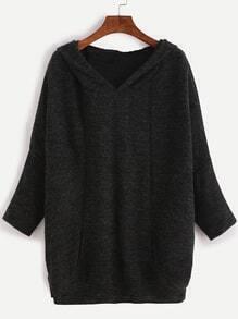 Sudadera con mangas murciélago y capucha - negro