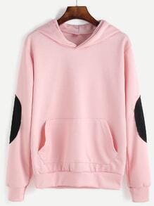 Sweat-shirt en patch avec capuche - rose